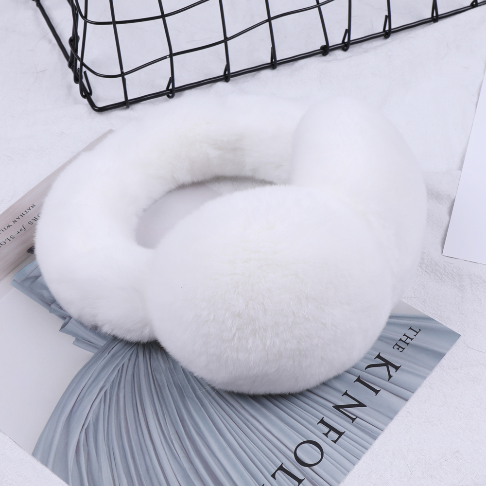 2019 Winter Warm Rex Rabbit Fur Earmuffs Ear Earflap Plush Earmuff Girls Ladies Women Hairbands Rhinestone Ear Muffs Ear Warmer