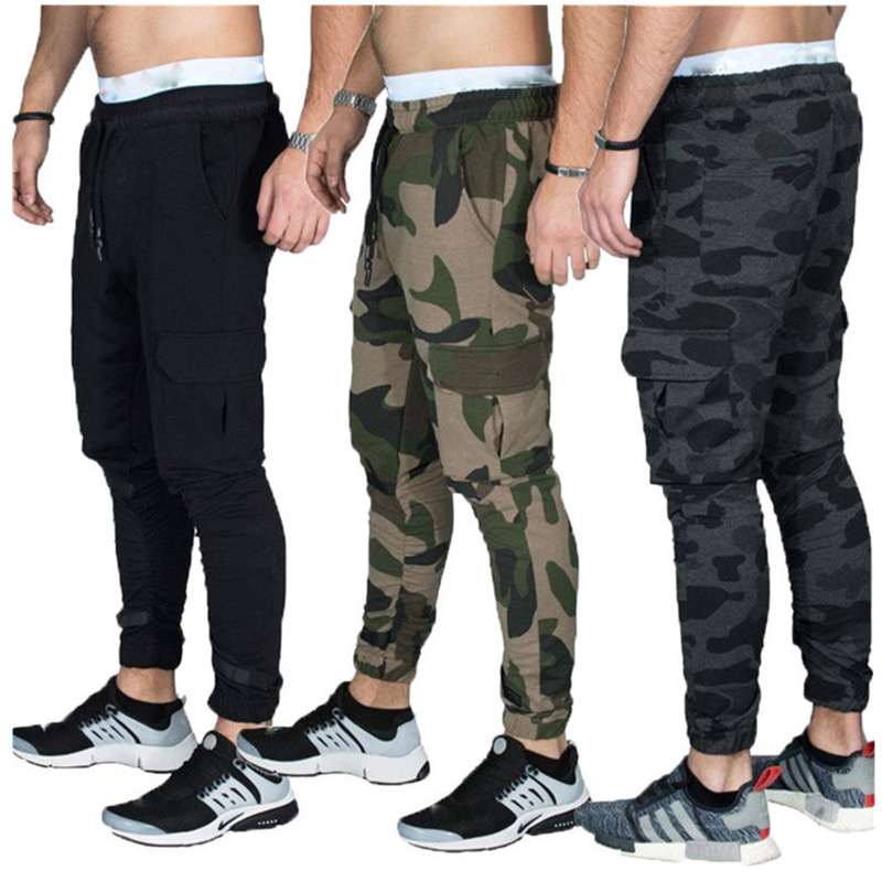 2019 Hot Selling Europe And America Men Velcro Casual Athletic Pants Sweat Absorbing Breathable Slim Fit Drawstring Top Skinny P