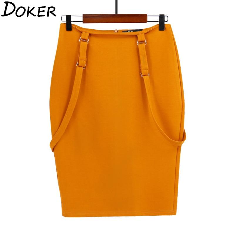Women's Midi Pencil Skirt 2020 Summer Office Lady Bodycon Shoulder Straps High Waist Skirt Fashion Plus Size Suspender Skirt