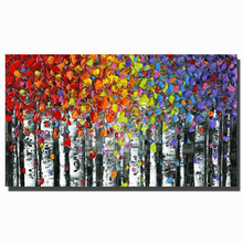 Best pure Handmade 3D Textured Birch Trees Canvas Painting Wall Art Abstract Forest Landscape Tree pictures for living room