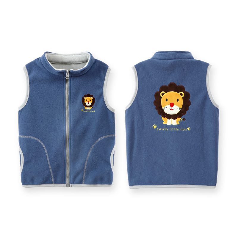 Fashion Polar Fleece Vest For Boy Turleneck Embroidery Cartoon Pattern Autumn Baby Girls Waistcoat Clothes Thick Children Vests 5