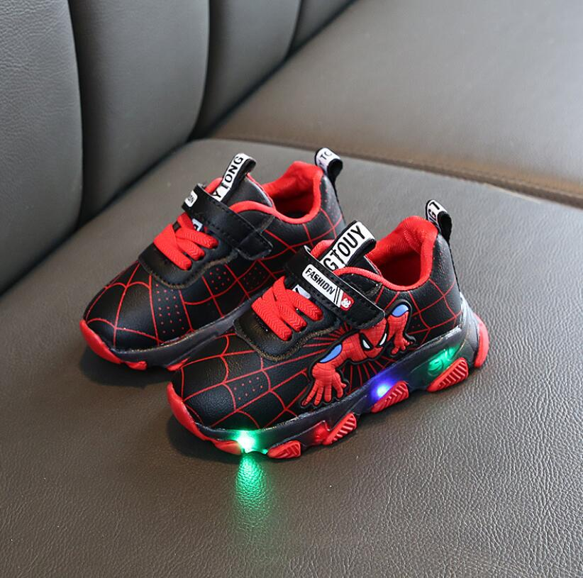 Spring Printed Cartoon Spiderman Children Shoes With Light Kids Led Shoes Luminous Glowing Sneakers Baby Toddler Girls Shoes