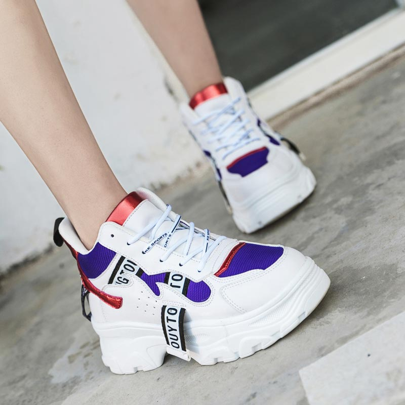Chunky Women's Platform Sneakers Sport Woman Tennis Female Running Shoes Sports Platform Workout Shoe Gym Thick Sole White A-403