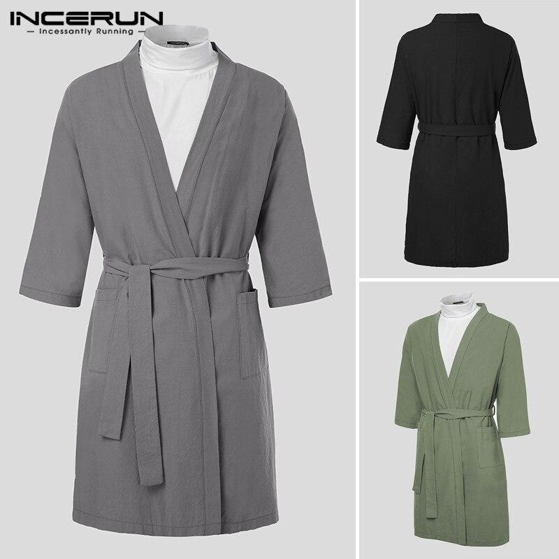INCERUN Men Robes Sleepwear Vintage Cotton V Neck Pockets Solid Homewear Nightgown 3/4 Sleeve Lacing Kimono Men Bathrobes 2020