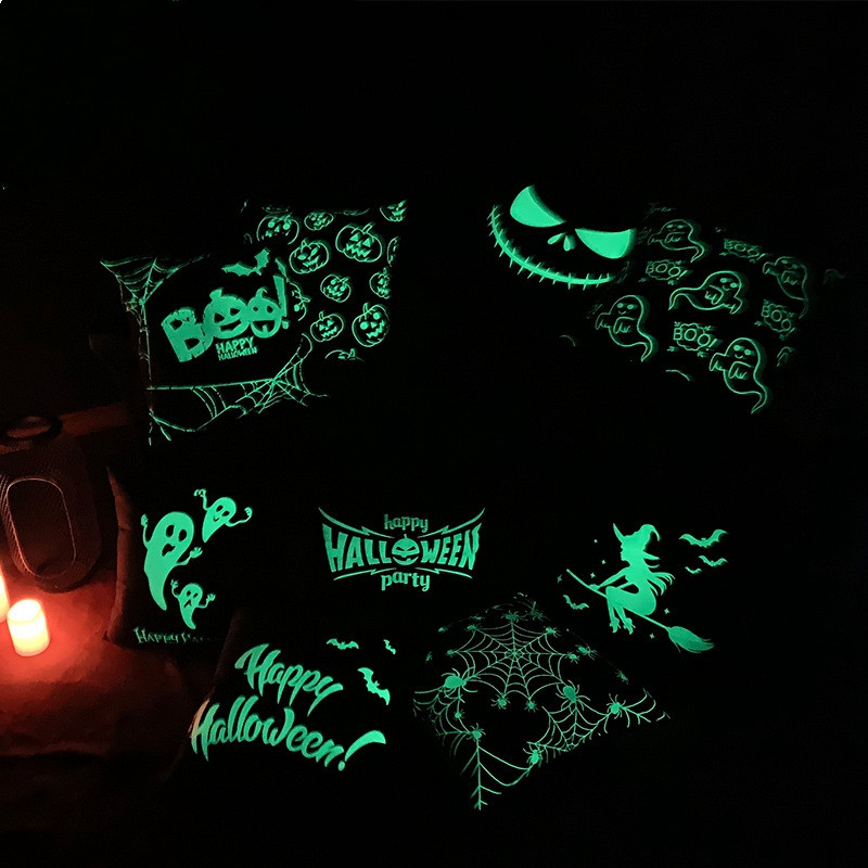 Halloween Cushion Cover Luminous Ghost Witch Pumpkin Linen Pillow Case Car Seat Sofa Waist Throw Pillowcases Home Decor Gifts in Cushion Cover from Home Garden