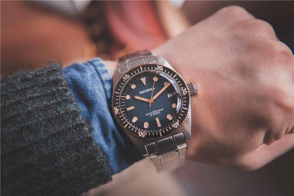 Proxima 男性ヴィンテージダイビング時計ステンレス鋼腕時計自動ブロンズ 62Mas CUSN8 ベゼルブルーダイヤル