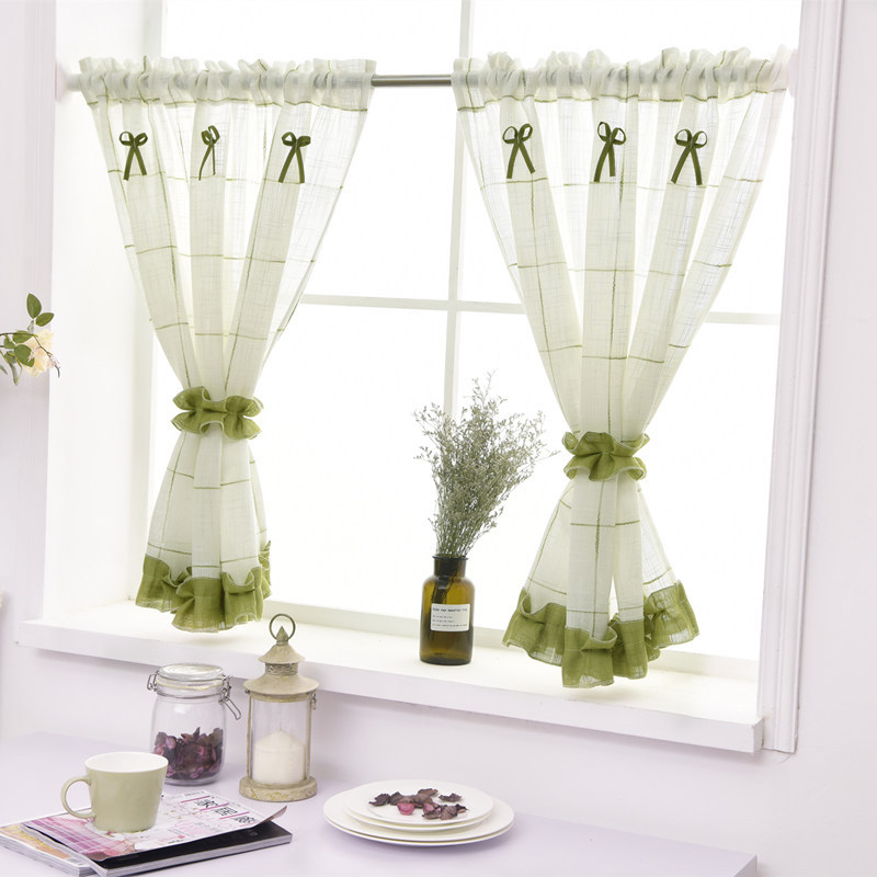 Customized American Coffee Curtain With Short Window Curtain Valance Kitchen Curtain For Home Decor Cabinet Dust Sheer Curtains
