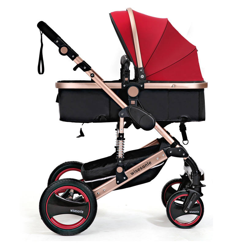 Wisesonle poussette bébé 2 en 1 poussette allongée ou amortissante pliante poids léger deux faces enfants quatre saisons de russie gratuit