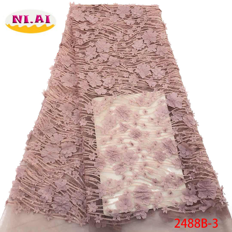 African Lace Fabric 2019 High Quality Lace 3D Flowers Tullle Lace Fabric French Beads Lace Fabric For Party Beads YA2488B-3