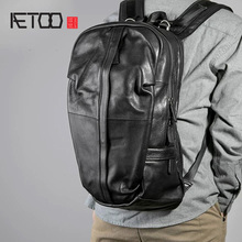 AETOO 가죽 어깨 가방, 남성용 여행 백팩, 트렌드 헤드 가죽 가방, 캐주얼 대용량 컴퓨터 가방