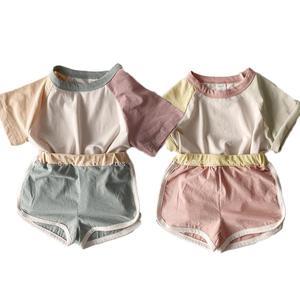 Новый летний комплект одежды в Корейском стиле для маленьких мальчиков и девочек, милая цветная футболка с короткими рукавами, топы + шорты, ...