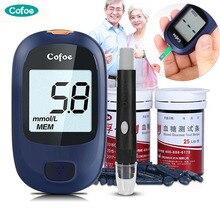 Глюкометр для диабета Cofoe Yice, измеритель уровня сахара в крови, медицинский глюкометр и тест-полоски для глюкозы в крови и ланцет, измеритель сахара в крови