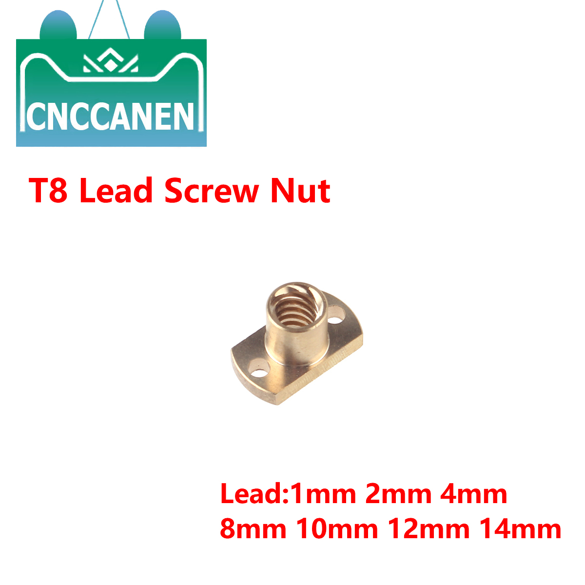 T8 Nut H Flange Copper Nut For T8 Lead Screw Pitch 2mm Lead 2mm 4mm 8mm 12mm For T8 Screw Trapezoidal Screw 3D Printer Parts