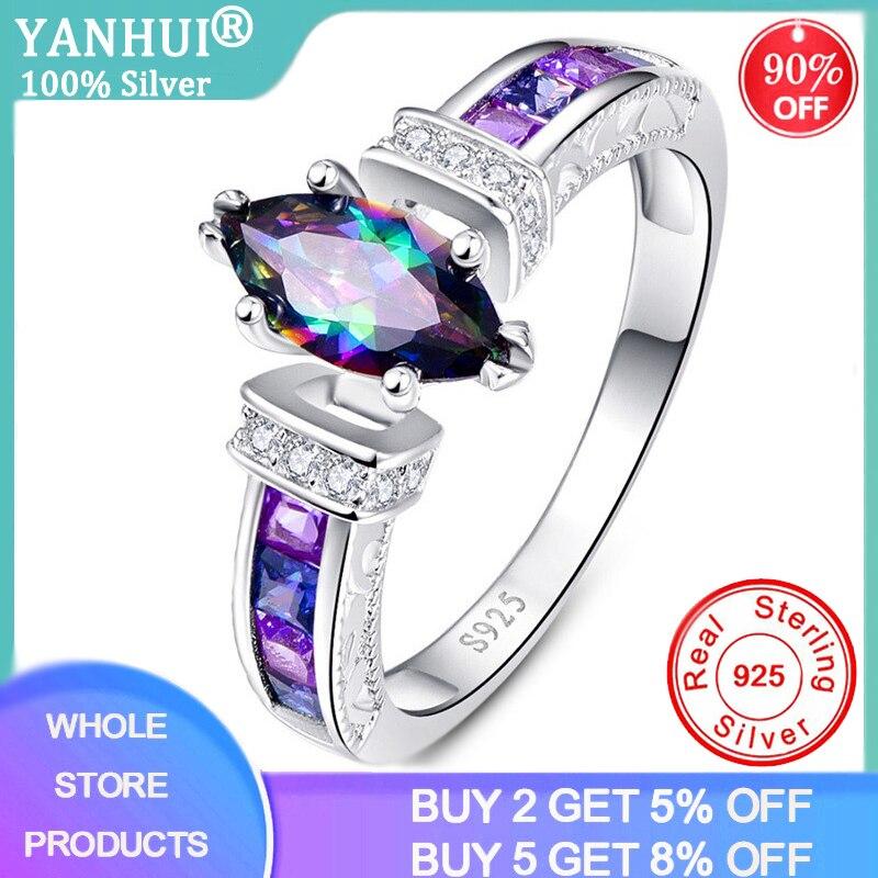 YANHUI Silver 925 Jewelry Silver 925 Rings for Women with Oval Rainbow Fire Mystic Topaz Gemstone Amethyst Rings Fine Jewelry