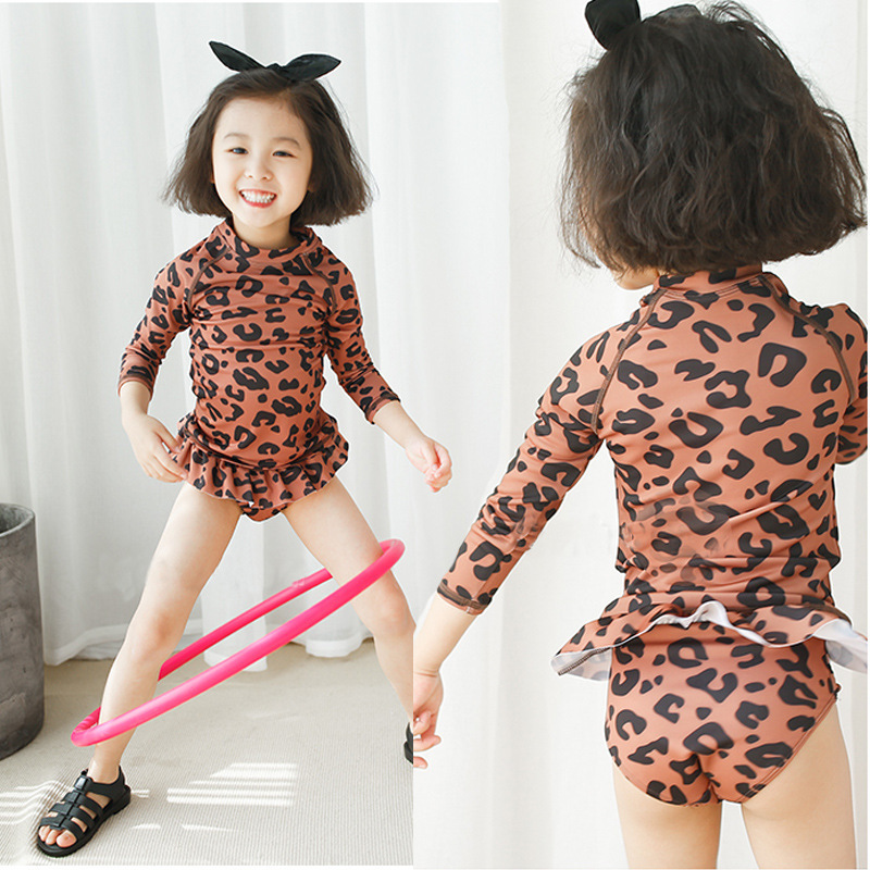 Bikini Girls Four-piece Set-Leopord Pattern Swimwear Long Sleeve Sun-resistant Children Large Swimwear Set Wholesale Europe And