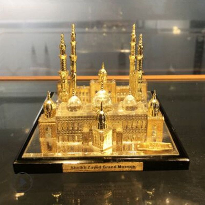 Abu Dhabi Grand Mosque Islamic Crystal Architectural Model Gold Inlaid Tourist Souvenir Crafts