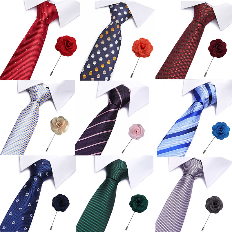 Factory Classic Business Wedding Party Men's 100% Silk Ties Brooch Set Silver White Plaid Pocket Square Necktie Hanky
