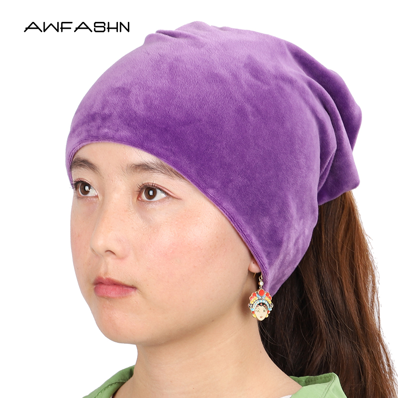 2019 New Fashion Solid Color Velvet Fabric Ladies Beanies Winter Women Casual Ponytail Hat Ring Scarf Dual Purpose Soft Cap Warm