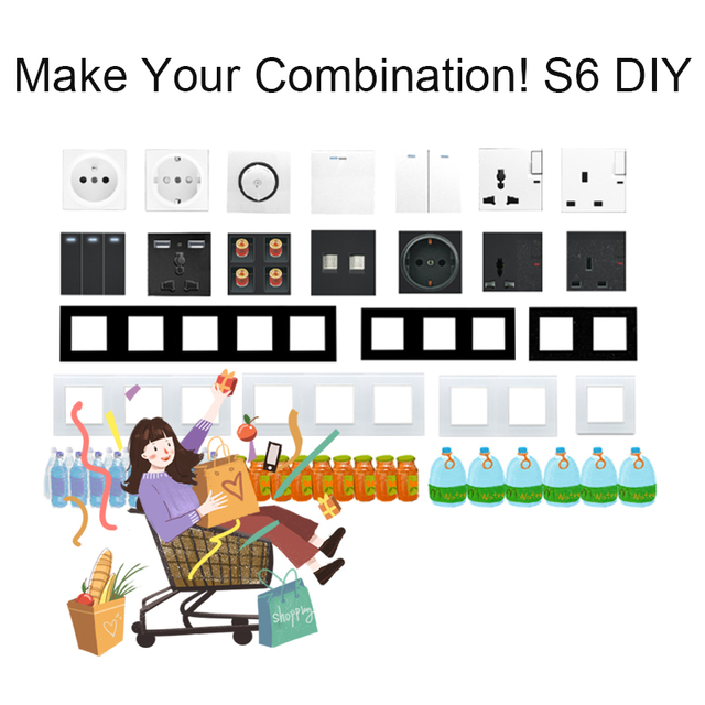 DIY EU UK Wall Socket Push Button Switch Electrical Outlet Black Function Key Only Free DIY 55*55mm S6 Series Wallpad 3