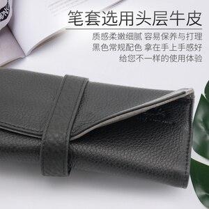 Image 5 - Wancherของแท้กระเป๋าหนัง 5 ปากกากระเป๋าดินสอม้วนของขวัญกล่องป้องกันสีดำปากกา