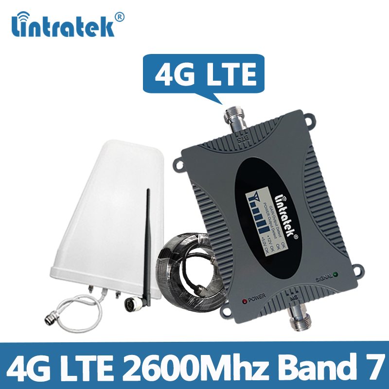 Lintratek 4G 2600Mhz Signal Booster LTE Band 7 Repeater 4G Amplifier 2600 Mobile Phone Signal Repeater LTE 65dB Full Kit