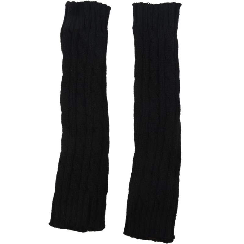 Fashion Winter Women Men Gloves Unisex Arm Warmer Long Fingerless Knit Mitten  Black
