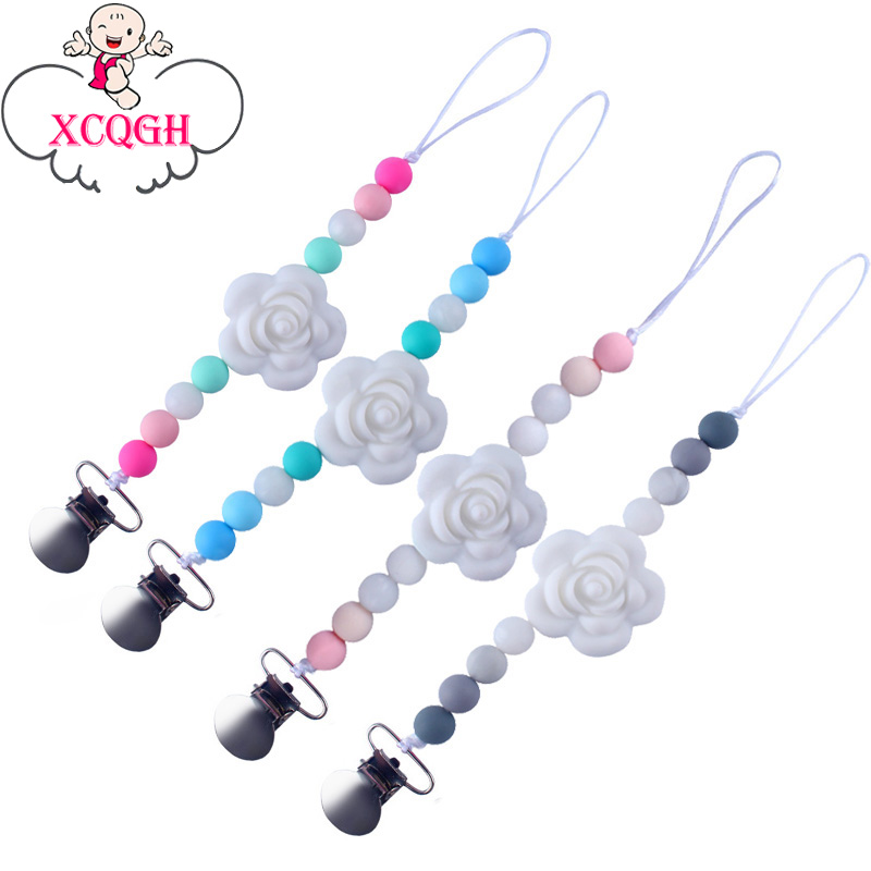 XCQGH Baby Pacifier Chain Clip Teether Anti-drop Chain Silicone Flower Silicone Beads Pacifier Chain