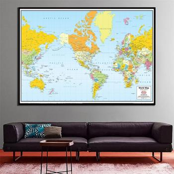 A2 Size The World Map Mercator Projection 2005 Version HD Printed Fine Canvas Unframed Wall Map Home Decor Crafts