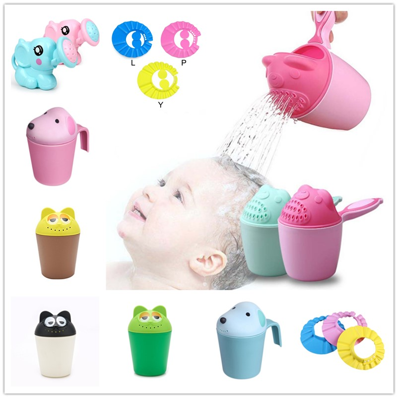 Cute Cartoon Baby Bath Caps Kids Bath Tool Toddle Shampoo Cup Children Bathing Bailer Baby Shower Spoons Child Washing Hair Cup