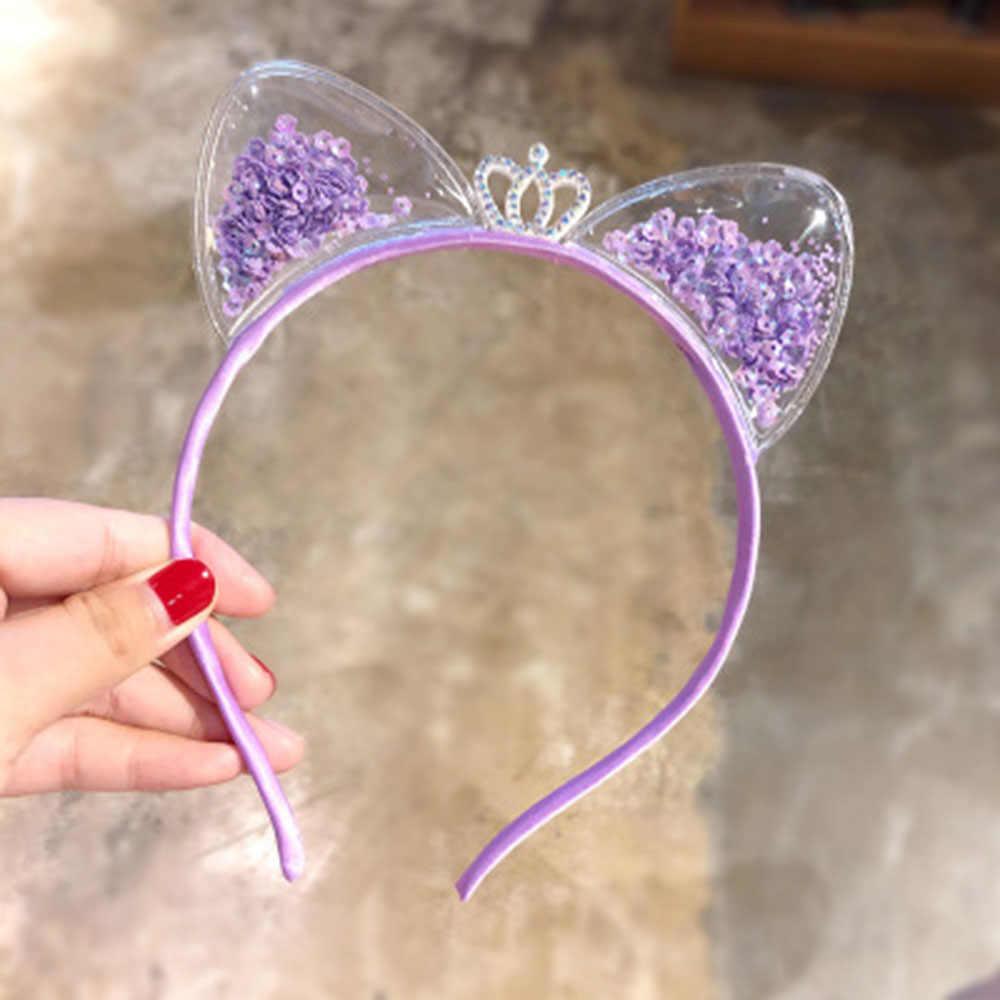 Nowe dziewczyny śliczne kolorowe cekiny korona opaski z uszami kota dzieci urocza opaska na włosy nakrycia głowy Hairband moda dziecięca akcesoria do włosów