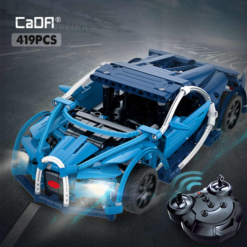 cada 419PCS RC Blue Sports Racing Cars DIY Model Building Blocks legoing city Technic Series Remote Control vehicle toys for kid