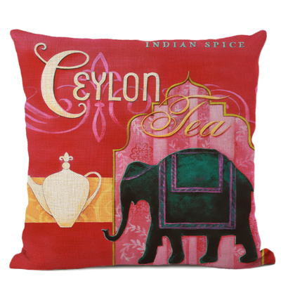 Watercolour Art Cushion Cover Middle East Islamic Muslim Culture Style Tea Elephant Castle Building Decorative Linen Pillowcase