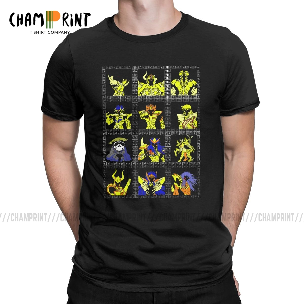 Men's T-Shirt Classic Gold Saints Humor Tee Shirt Saint Seiya Knights Of The Zodiac Anime T Shirt Crewneck Clothes Plus Size