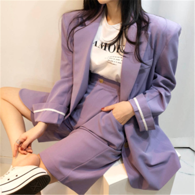 All Match Purple 2020 OL Chic High Quality Streetwear Blazers+Elastic-Waist Hot Straight Shorts Suits Women 2 Piece Sets