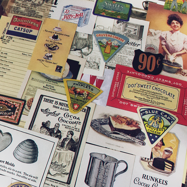 53PCS\SET Vintage Kitchen Series Retro Food Labels Old Newspaper Diy Ablum Diary Scrapbooking Label Kawaii Stickers Stationery