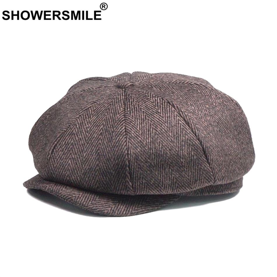 SHOWERSMILE Men Newsboy Caps Woolen Herringbone Flat Caps Coffee Retro Eight Piece Cap Male Vintage Autumn Winter Octagonal Hats