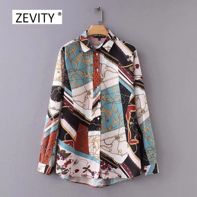 Женская винтажная блузка с принтом цепи, Повседневная Блузка с длинными рукавами в стиле ретро, модель LS2562|Блузки и рубашки|   | АлиЭкспресс