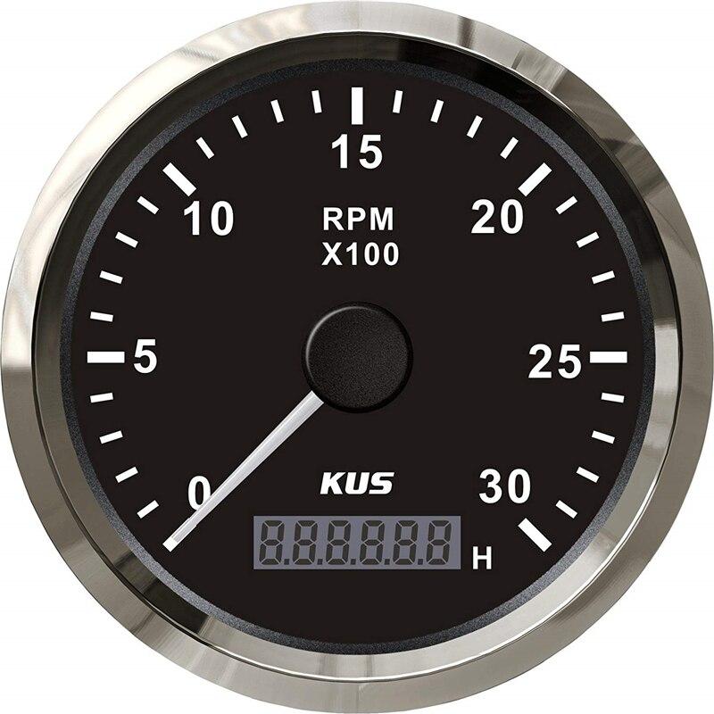 1pc essence Diesel moteur 0-3000 tr/min tachymètres 12v 24v 85mm compte-tours adapté pour Yacht vitesse bateau Auto camion universel noir