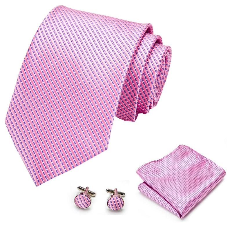 Solid Pink Ties For Men Hanky Cufflinks Set  Necktie For Male Business Wedding Party Mens Ties New Arrival Tie