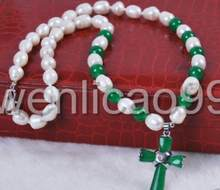 Jewelry Pearl Necklace Rice White Akoya freshwater Cultured Pearl/Green Jade Cross pendant necklace Free Shipping(China)