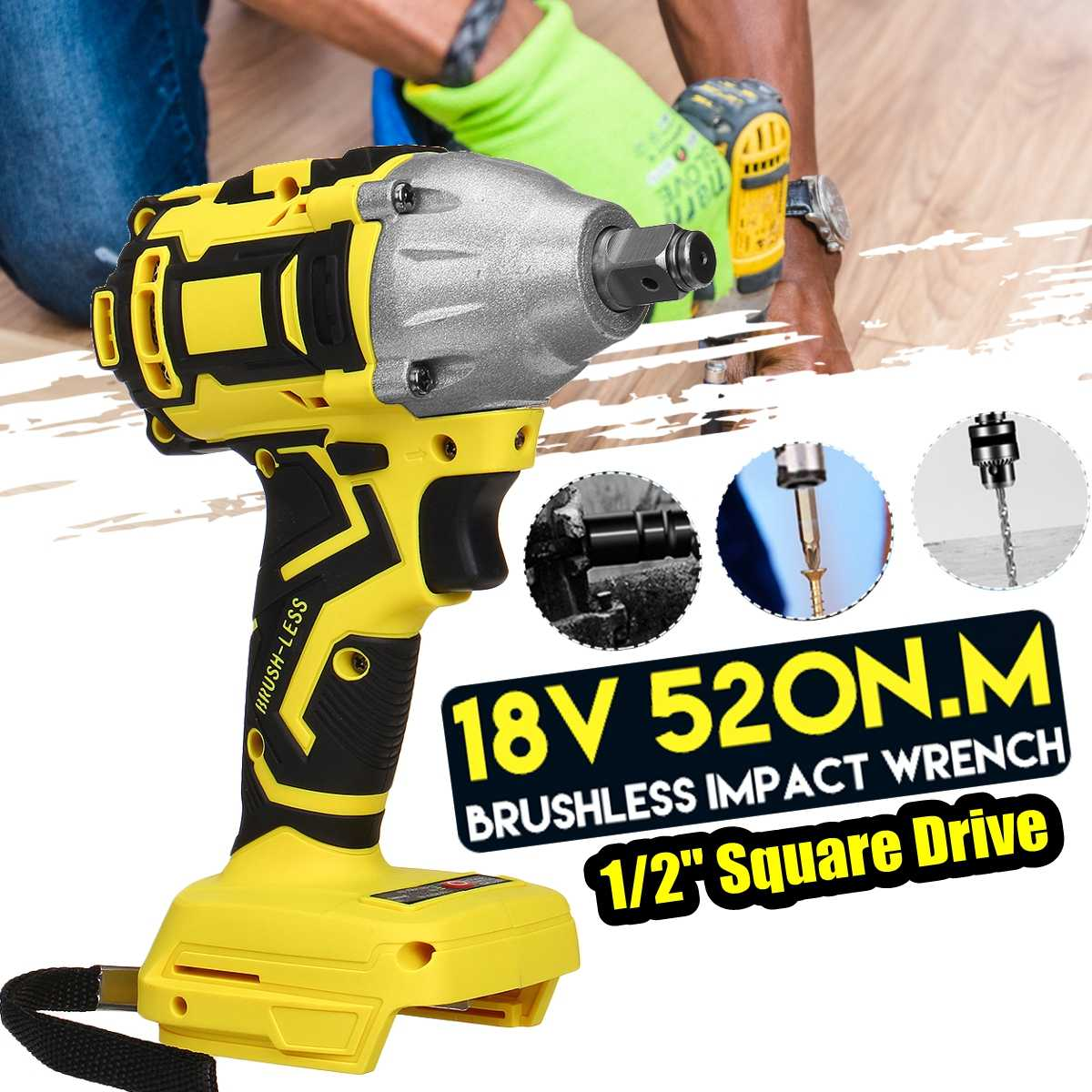 18V 350N.m Brushless Impact Wrench Cordless Electric Wrench Power Tool Torque Rechargeable For Makita Battery DTW285Z