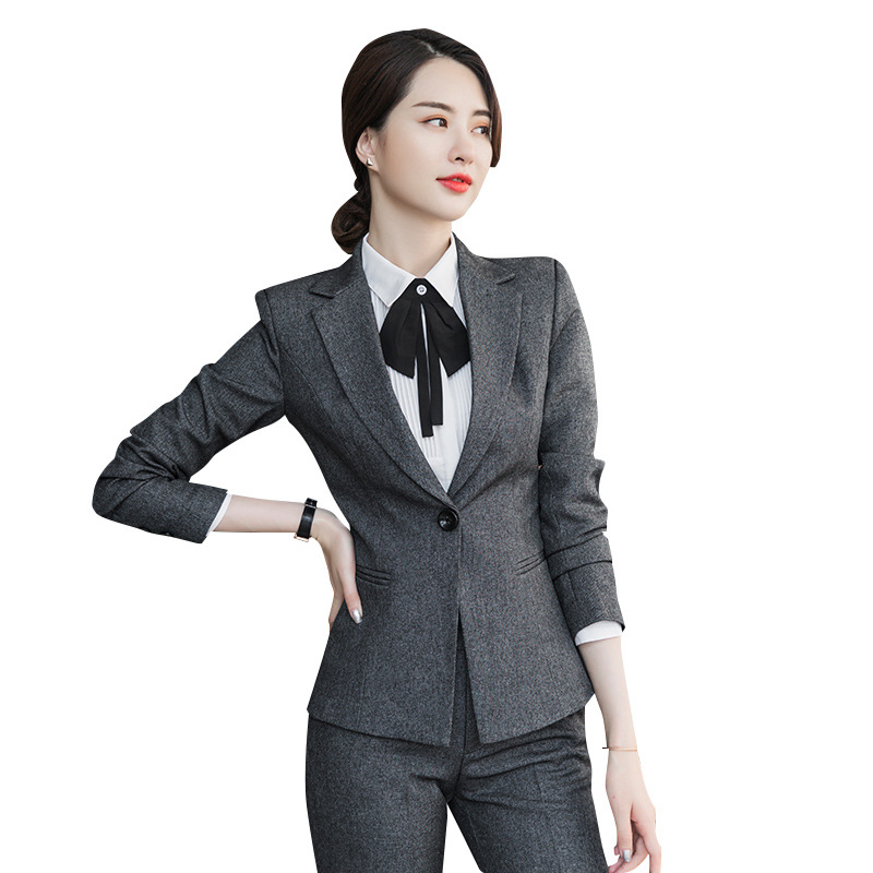 Womens Tops And Blouses New Temperament Commuter Slim Long-sleeved Suit Trousers Two-piece Office Ladies Professional Suit
