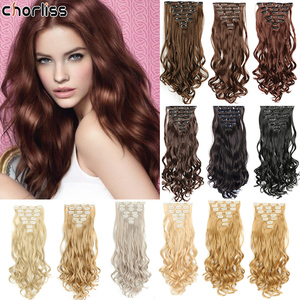Chorliss Long Wavy Synthetic Clip In Hair Extensions 7pcs/set Fake False Hair 16 Clips in Hair Extensions Ombre Blonde Hairpiece