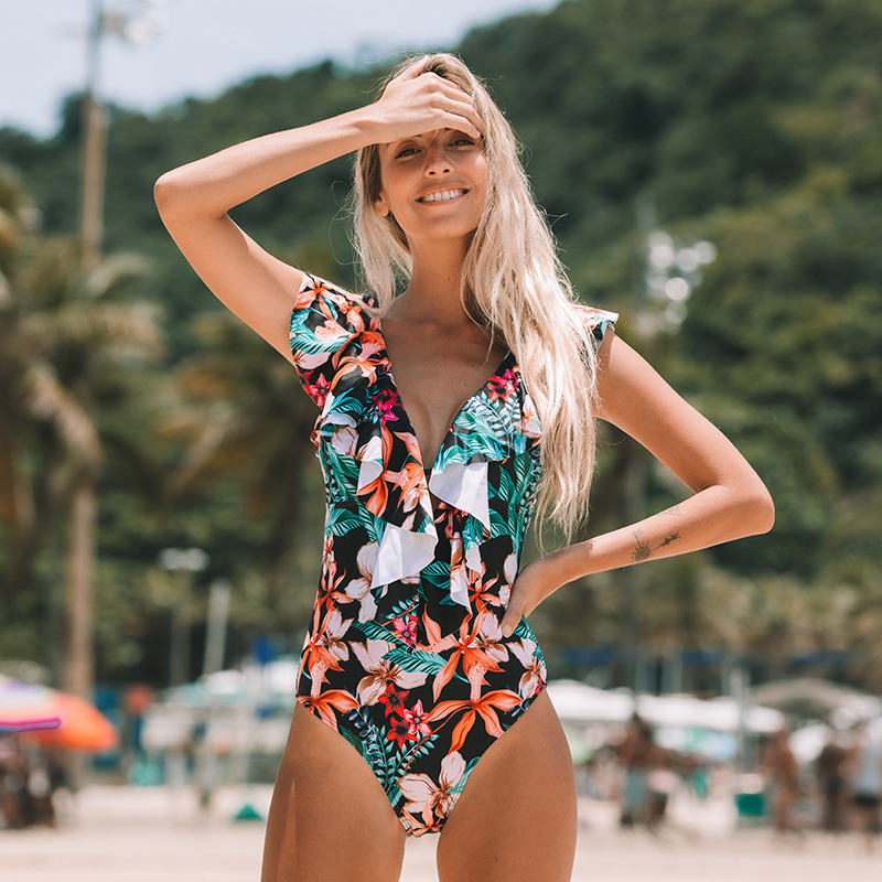 H84c0bc4dd379415e82680e3bb59b0680C - Sexy One Piece Swimsuit Push Up Swimwear Women Ruffle Monokini Adjustable Shoulder Swimsuit Bodysuit Bathing Suit Swim Wear
