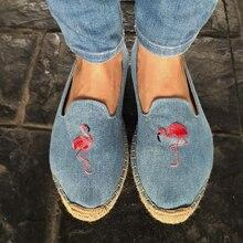 20 kobiet espadrille haftować buty wygodne kapcie damskie damskie buty na co dzień oddychające płótno lniane konopi niebieski Flamingo