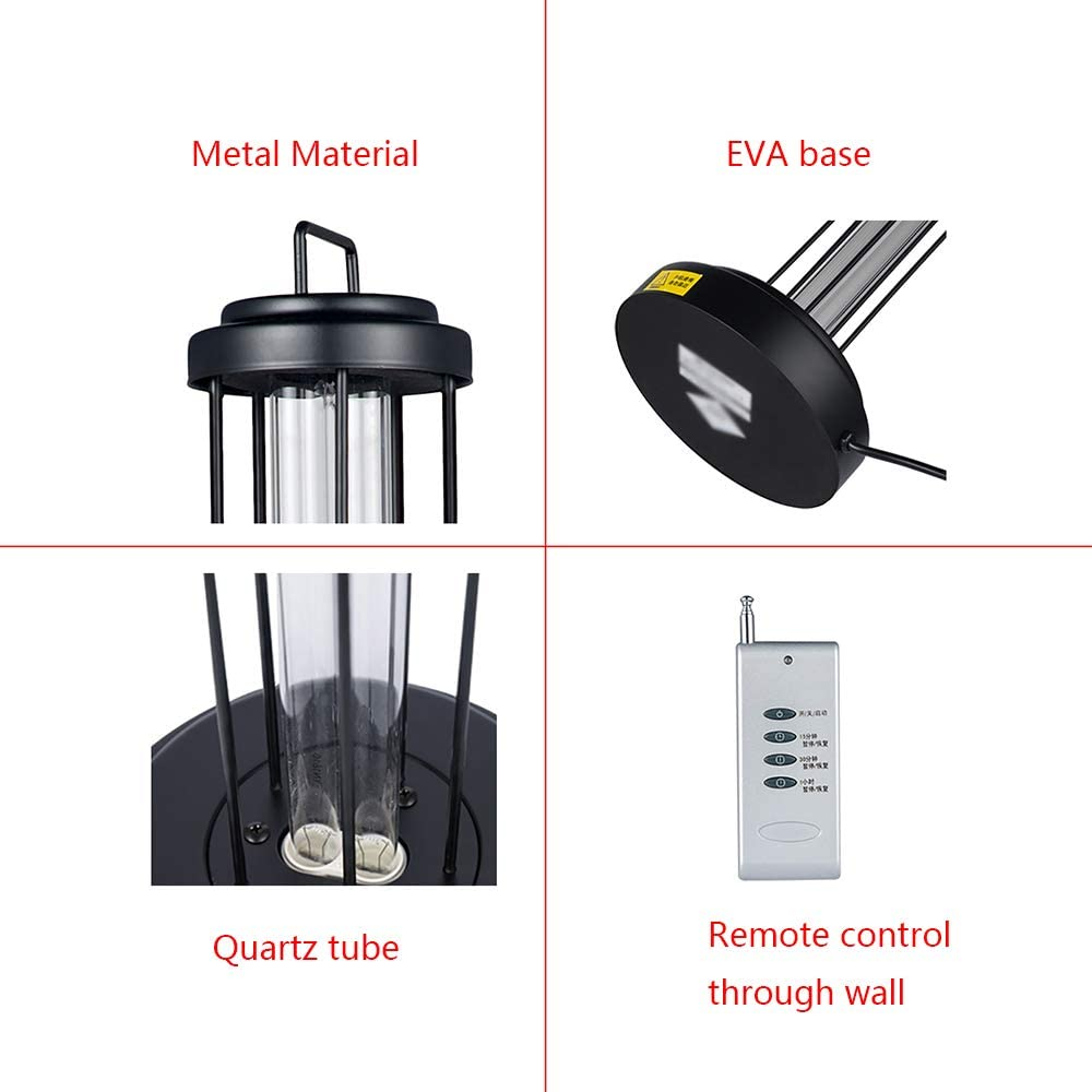 Germicidal Lamp Led UV Disinfection Lamp 38W High Ozone 360 Degree Remote Ultraviolet Lights Coronavirus Prevention for Home 2