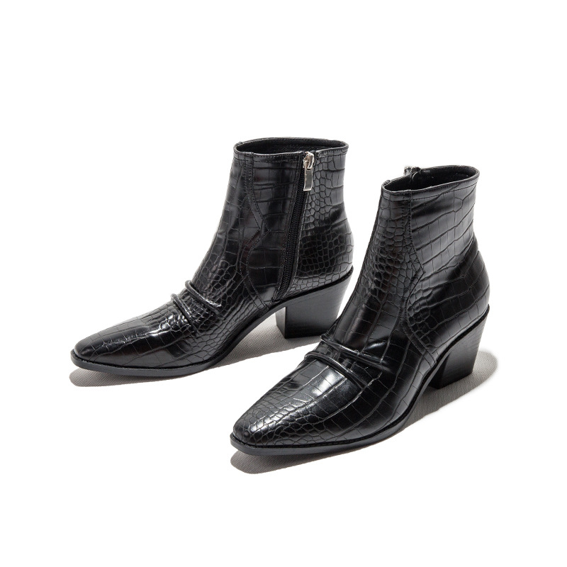 Lady Motorcycle Western Cowboy Boots Women Animal Crocodile Pattern PU Leather High Heels Cowgirl Booties Ankle botas Shoes