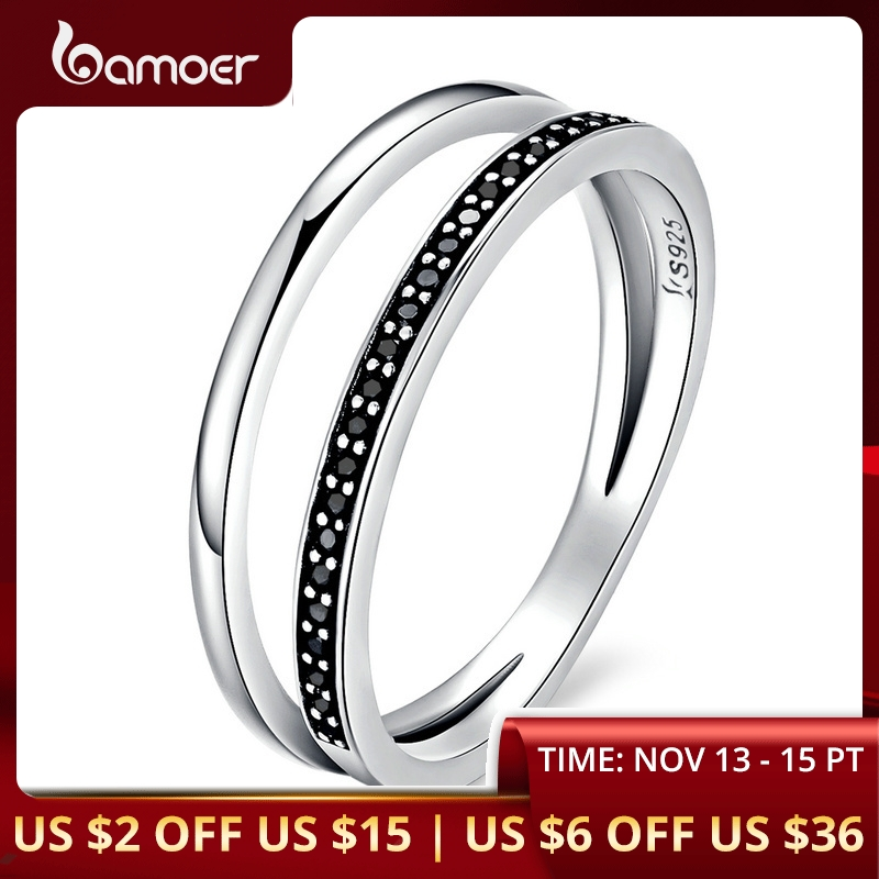 BAMOER Genuine 925 Sterling Silver Double Circle Black Clear CZ Stackable Finger Ring For Women Fine Silver Jewelry Gift SCR082
