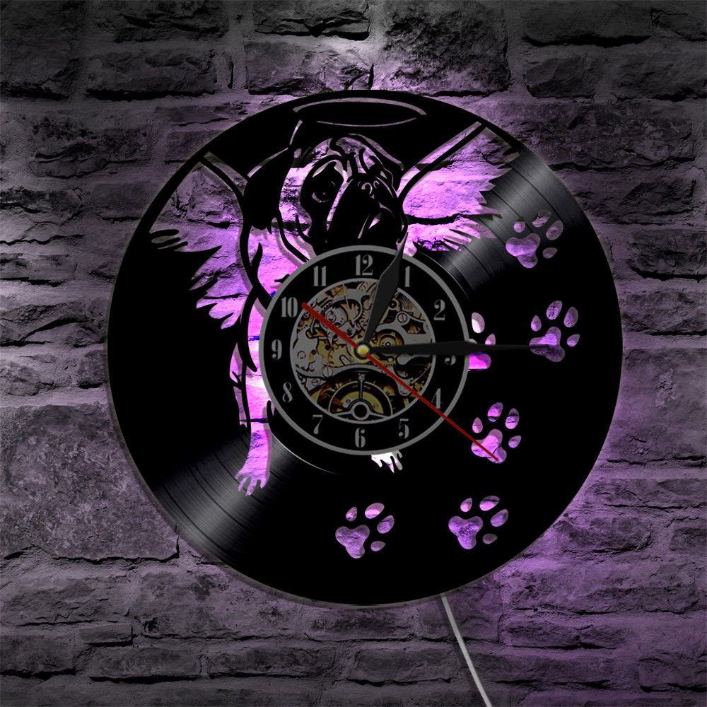 Vinyl Record Wall Clock Modern Design Creative Dog Theme LED Clocks With Backlight Retro Style Classic CD Wall Watch Home Decor
