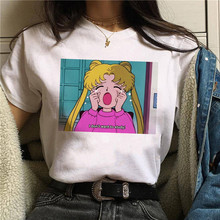 Sailor Moon Funny Cartoon T Shirt Women Harajuku Ullzang Anime T-shirt 90s Korean Style Tshirt Graph